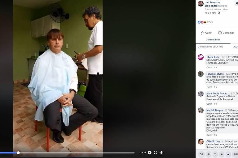 Jair Bolsonaro durante transmissão de ida ao barbeiro