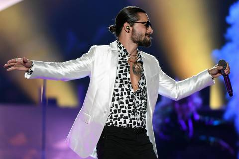 LAS VEGAS, NV - MAY 05: Singer/songwriter Maluma performs at the Mandalay Bay Events Center in support of his upcoming album