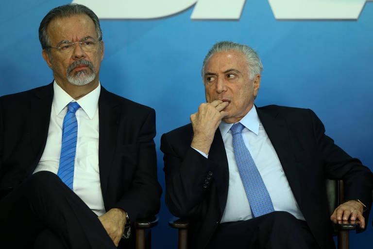 O ministro da Segurança Pública, Raul Jungmann, e o presidente Michel Temer
