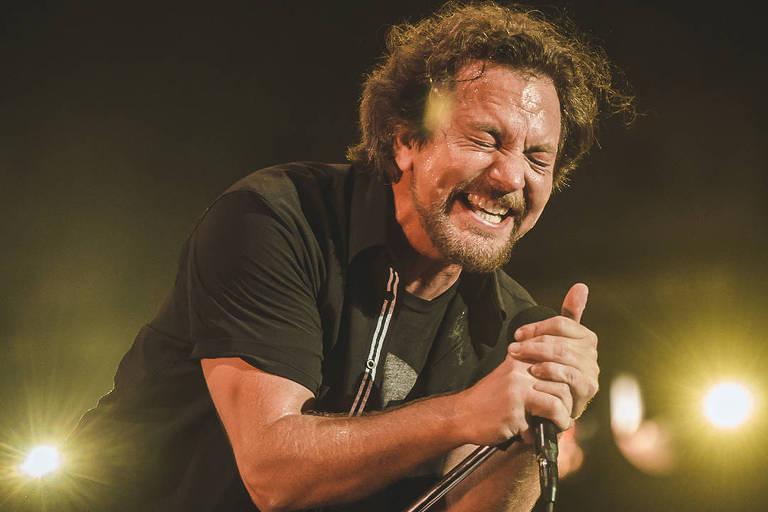Eddie Vedder, do Pearl Jam, no Lollapalooza 2018