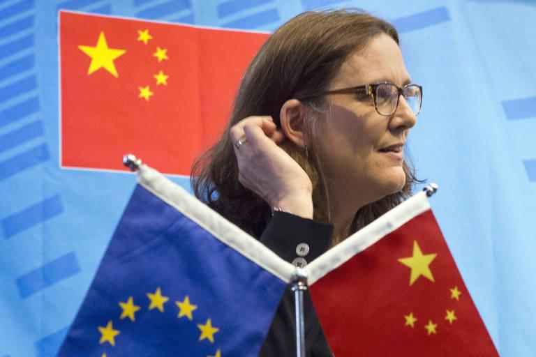 Comissionária da UE, Cecilia Malmstrom, em evento em Pequim