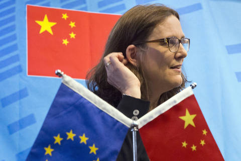 FILE - In this July 11, 2016, file photo, EU Trade Commissioner Cecilia Malmstrom speaks at the University of International Business and Economics in Beijing. One in five foreign companies in China feels compelled to hand over technology for market access, a business group said Wednesday, June 20, 2018, highlighting a key irritant in an escalating U.S.-Chinese trade dispute. The European Union Chamber of Commerce in China's report follows President Donald Trump's order for tariffs on additional Chinese goods in response to complaints Beijing steals or pressures companies to hand over technology. (AP Photo/Ng Han Guan, File) ORG XMIT: XHG201