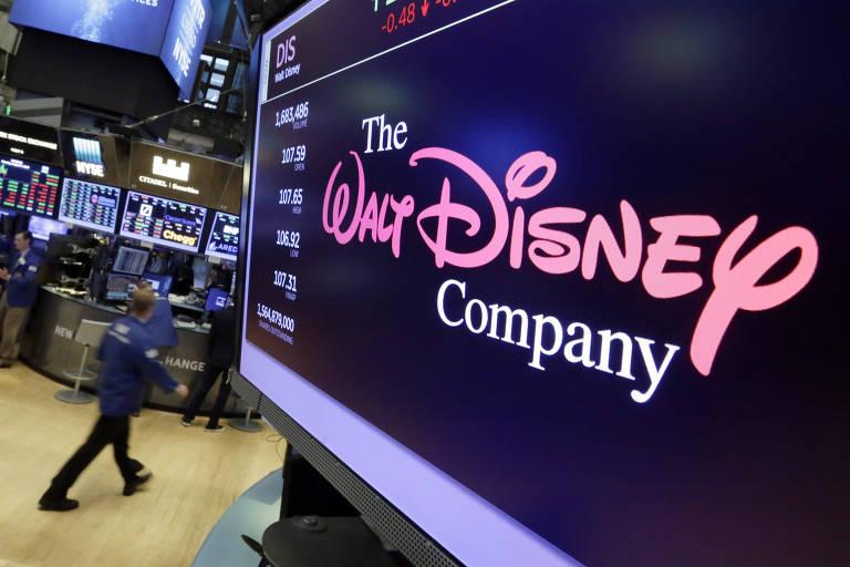Logo da Walt Disney aparece em tela na Bolsa de Nova York