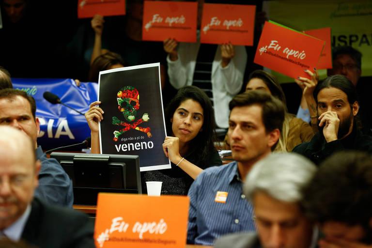 A apresentadora Bela Gil protestou contra a mudança no registro e uso de agrotóxicos em sessão da Câmara do dia 19 de junho