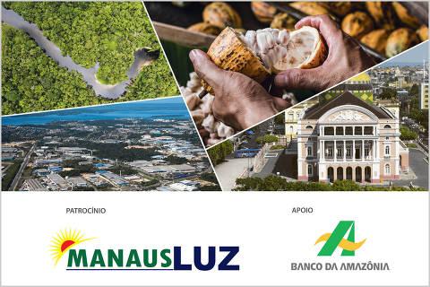 Imagem com logos do Seminário O futuro da Amazônia