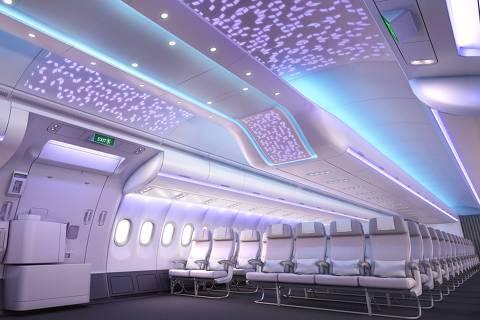 Iluminação na cabine do A330-900 neo, que fará a rota Brasil-Portugal