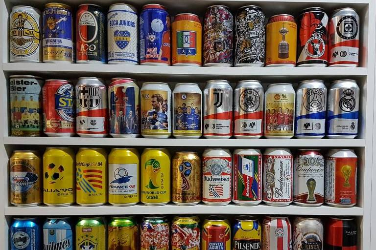 Latas de cervejas estrangeiras e nacionais de edições comemorativas da Copa