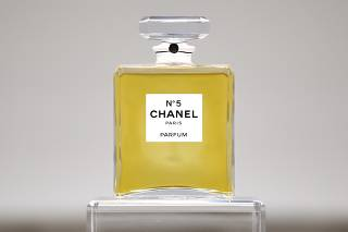 A bottle of CHANEL No. 5 perfume is seen during the N?5 CULTURE CHANEL exhibition at the Palais de Tokyo in Paris