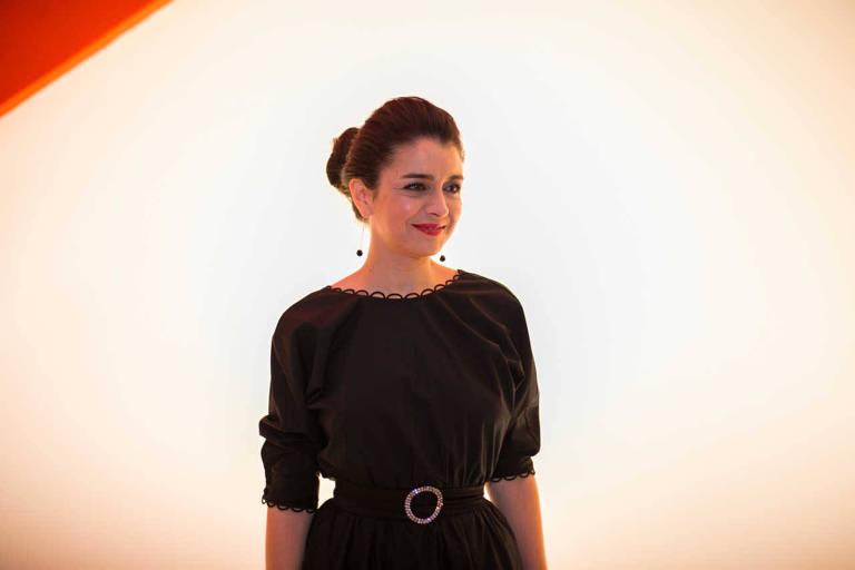 A atriz Erica Rivas na abertura da 38ª Mostra Internacional de Cinema, com apresentacao de Marina Person e Serginho Groissman
