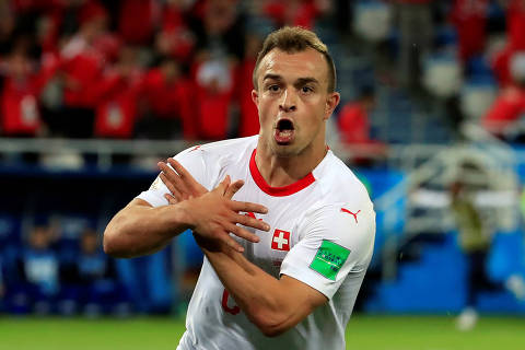 Soccer Football - World Cup - Group E - Serbia vs Switzerland - Kaliningrad Stadium, Kaliningrad, Russia - June 22, 2018   Switzerland's Xherdan Shaqiri celebrates scoring their second goal   REUTERS/Gonzalo Fuentes ORG XMIT: AI