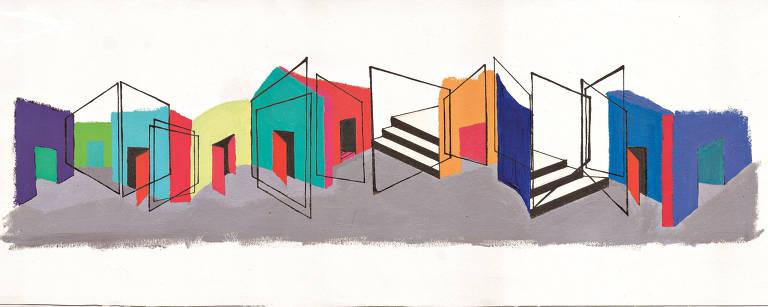 casas, portas e escadas