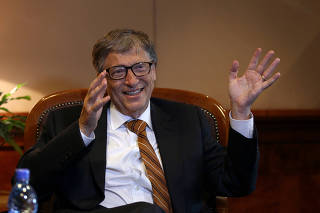 Billionaire philanthropist and Microsoft co-founder Bill Gates speaks during a Reuters interview in Ethiopia's capital Addis Ababa