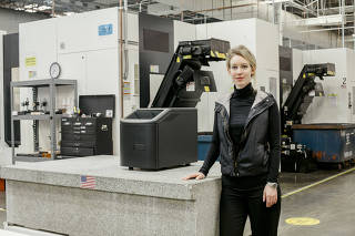 Elizabeth Holmes, the founder of the medical start-up Theranos, at the company?s lab in Newark, Calif.
