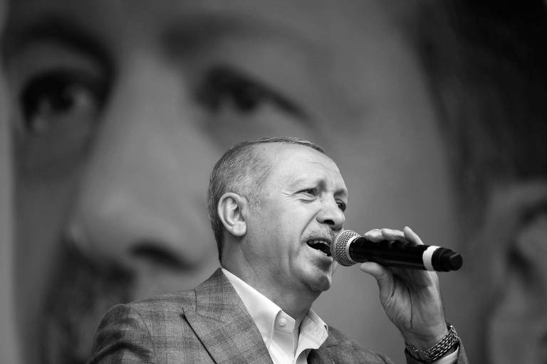 O presidente da Turquia, Recep Tayyip Erdogan, durante evento de campanha em Istambul