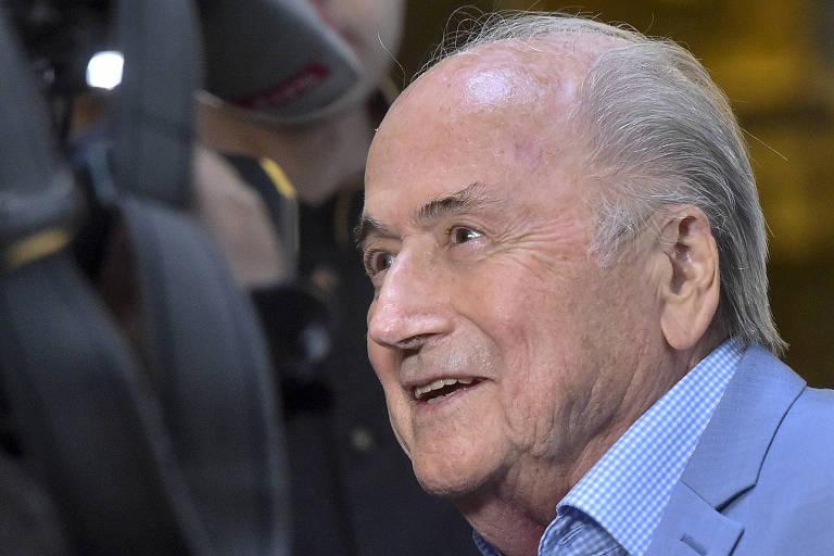 Ex-presidente da Fifa Joseph Blatter em hotel em Moscou durante a Copa do Mundo da Rússia