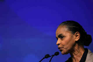 Marina Silva of REDE, a pre-candidate for Brazil's presidential election, attends a presidential debate during Unica Forum in Sao Paulo