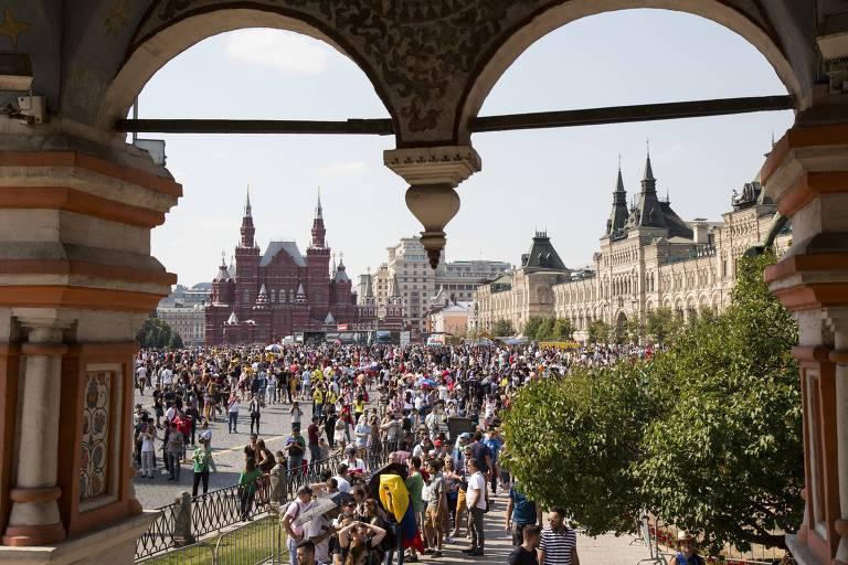 Festas na praça Vermelha durante a Copa do Mundo