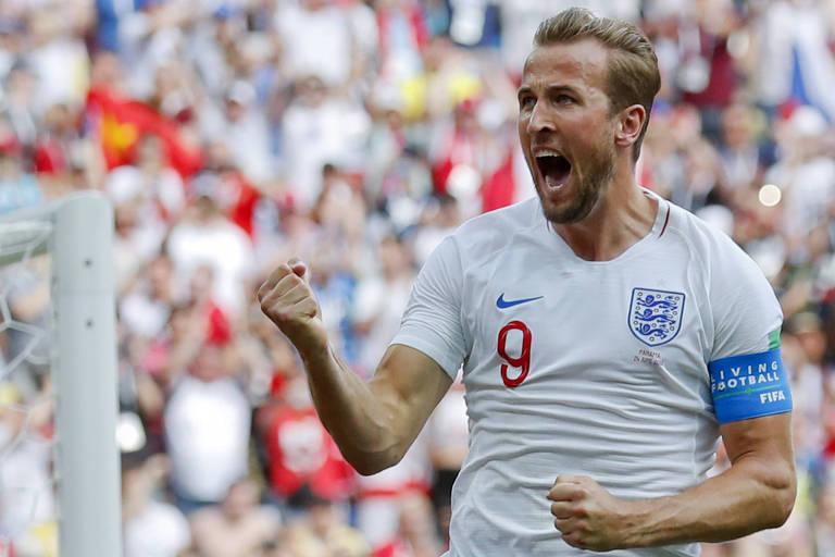 Harry Kane comemora gol contra o Panamá  atacante inglês assumiu artilharia  do Mundial a43b6c7991054