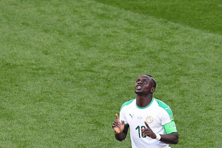 Mané comemora gol contra o Japão durante a Copa do Mundo da Rússia, em 2018