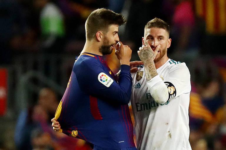 Sergio Ramos e Piqué protagonizam clássicos quentes entre Real Madrid e  Barcelona no futebol espanhol f046e4622e96d