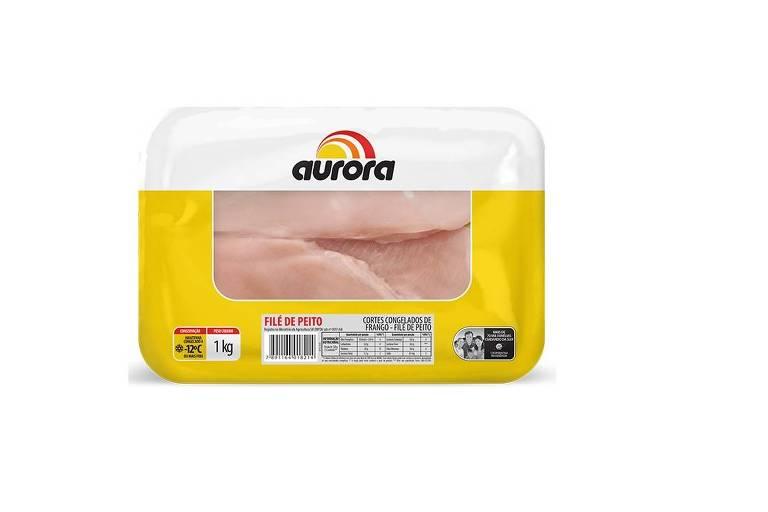 Bandeja de filé de frango da marca Aurora