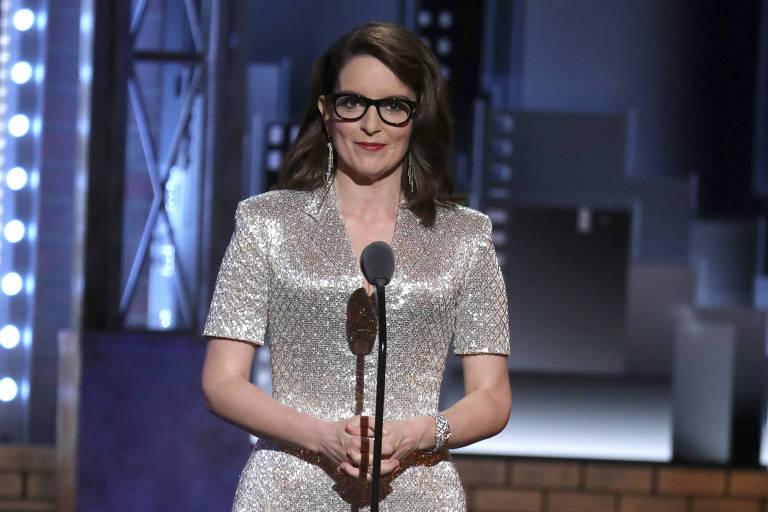 A atriz e comediante Tina Fey no 72º Tony Awards em New York,em junho de 2018