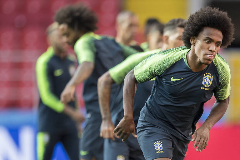 Willian em treino da seleção brasileira durante a Copa do Mundo da Rússia, em 2018