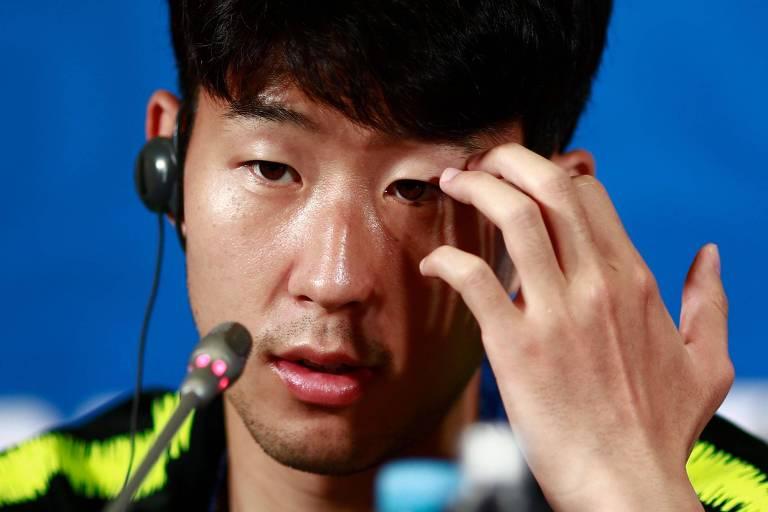 Son Heung-min em coletiva à imprensa em Kazan
