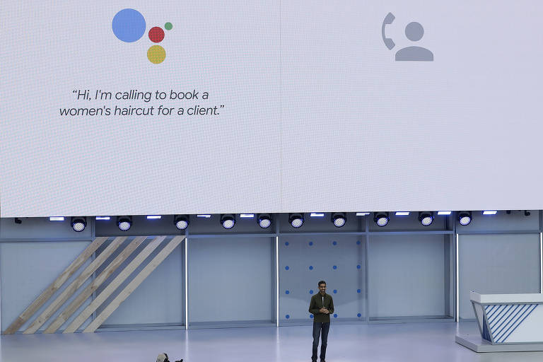 Presidente-executivo do Google, Sundar Pichai, apresente o Google Duplex durante conferência anual da empresa na Califórnia