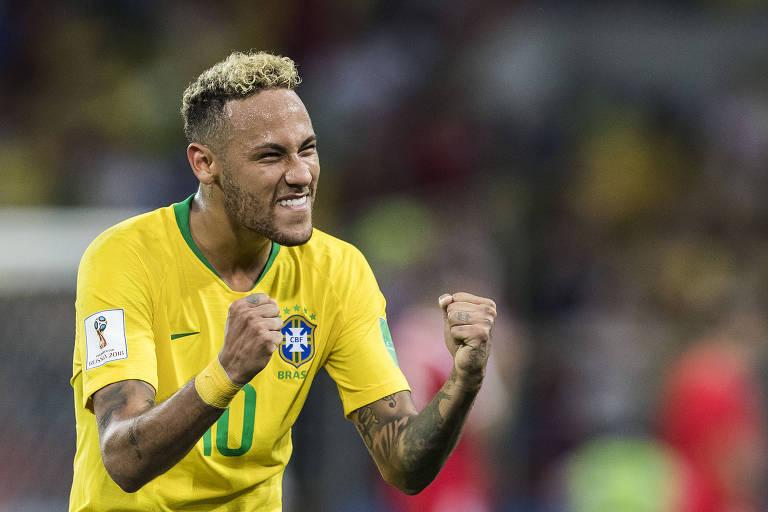 Neymar vibra com vitória do Brasil sobre a Sérvia