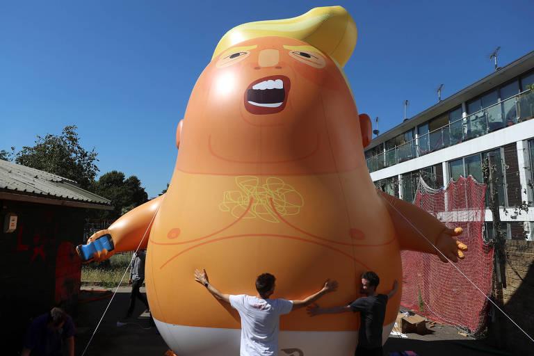 Balão inflável que representa o presidente americano, Donald Trump, em Londres