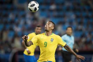 Copa Russia 2018. Brasil e Servia jogam no  estadio Spartak, em Moscou.Gabriel Jesus durante lance