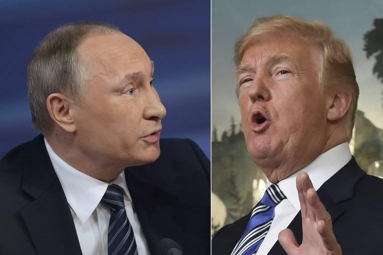 Montagem com os presidentes da Rússia, Vladimir Putin, e dos EUA, Donald Trump