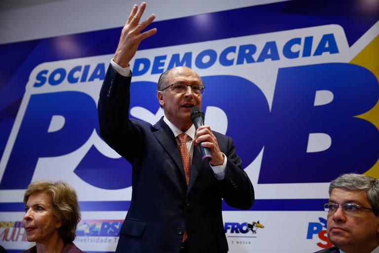 O pré-candidato Geraldo Alckmin discursa em evento de 30 anos do PSDB