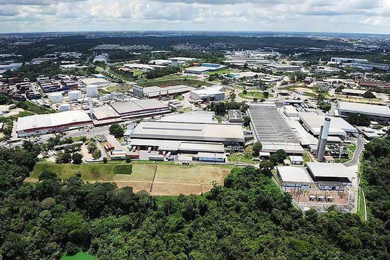 Foto aérea da Zona Franca de Manaus, em 2017