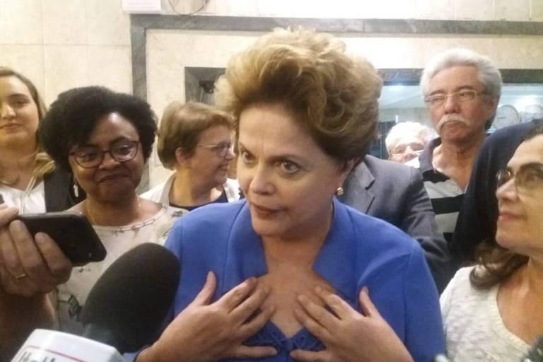Dilma Rousseff em hotel em Belo Horizonte durante reunião com o PT no dia 28.jun.2018