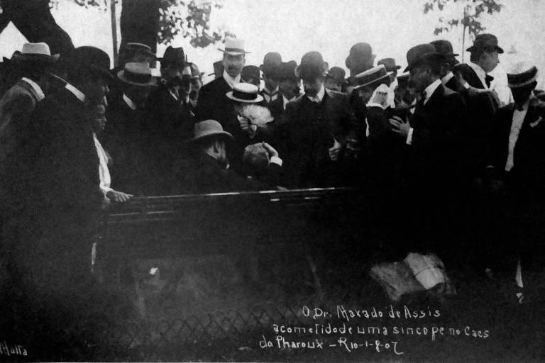 Machado de Assis tendo um ataque epilético em retrato de Augusto Malta de 1907