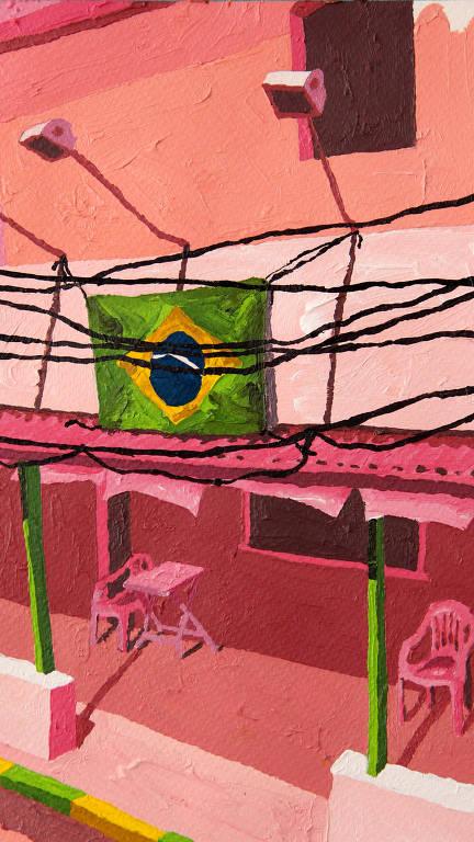 fachada de bar com bandeira