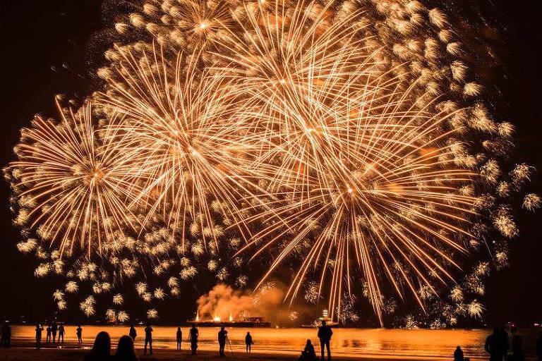 Show de fogos de artifício em Haia, na Holanda