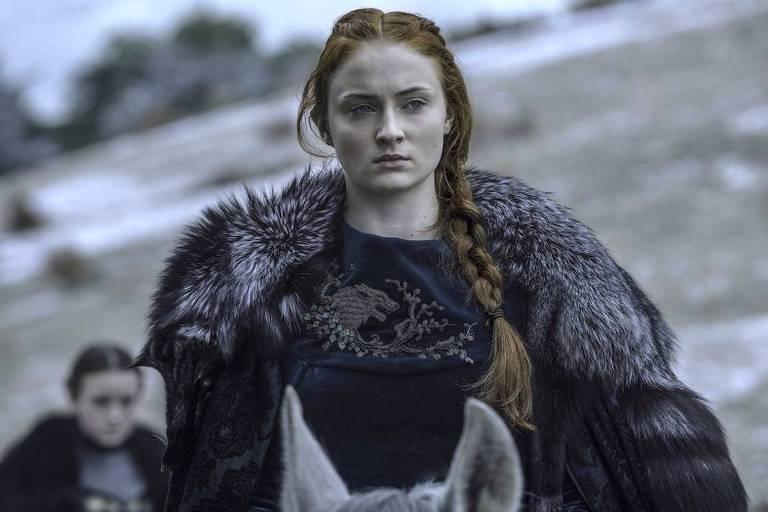 """A atriz Sophie Turner como a personagem Sansa Stark de """"Game of Thrones"""""""