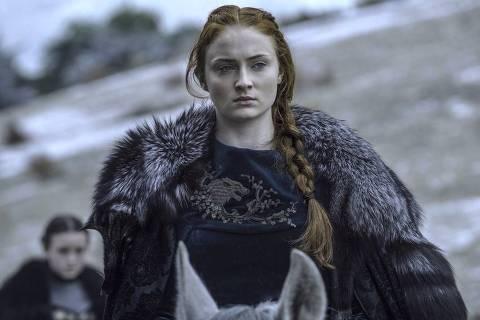 A atriz Sophie Turner como a personagem Sansa Stark em