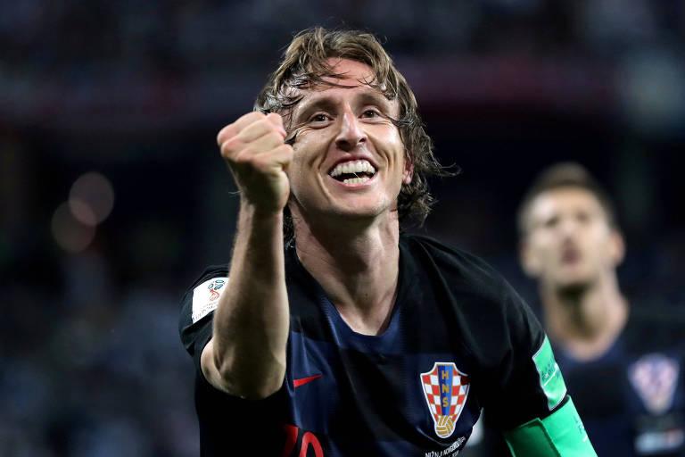 Modric comemora gol em partida contra a Argentina na Copa do Mundo