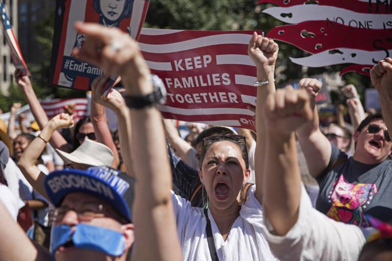 Protestos contra separação de famílias imigrantes nos EUA em jun.2018