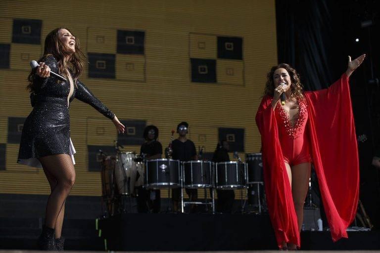 Ivete Sangalo (esq.) e Daniela Mercury em show no Rock in Rio Lisboa