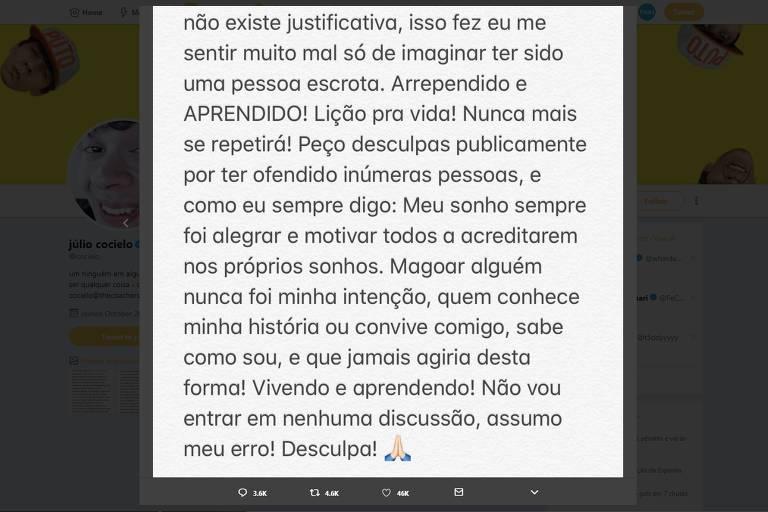 Youtuber Júlio Cocielo pede desculpas após ser acusado de racismo em tuíte sobre Mbappé