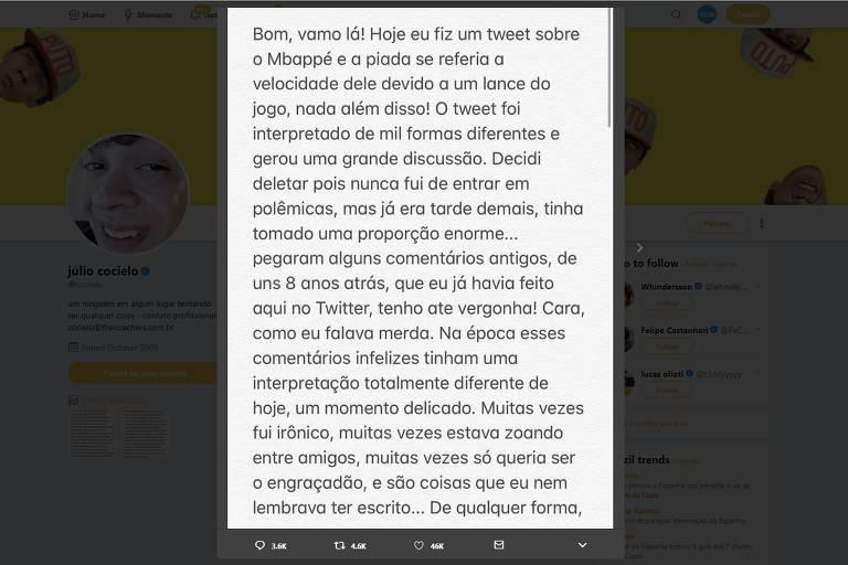 Júlio Cocielo pede desculpas após ser acusado de racismo em tuíte sobre Mbappé