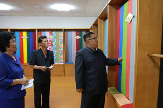North Korea?s leader Kim Jong Un tours a factory in Sinuiju, North Korea