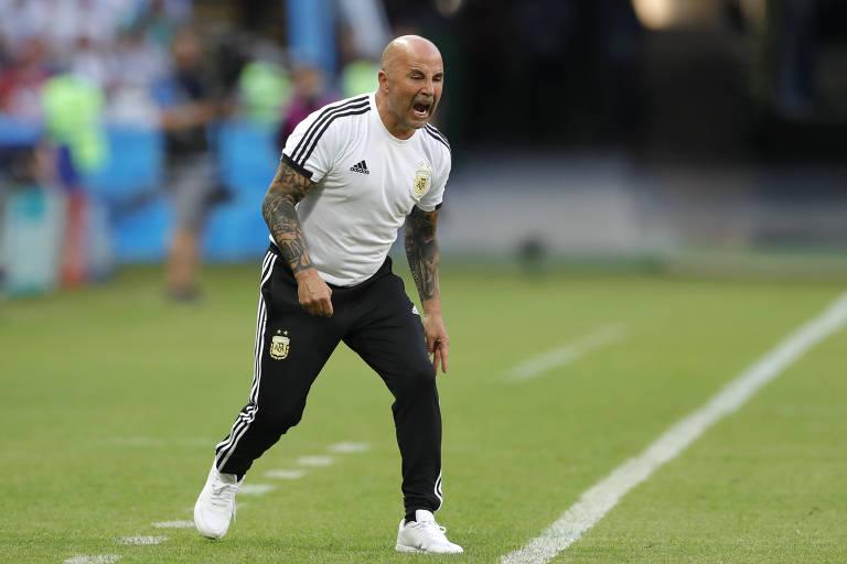 Jorge Sampaoli durante o jogo França 4x3 argentina, nas oitavas de final da Copa do Mundo da Rússia Argentina