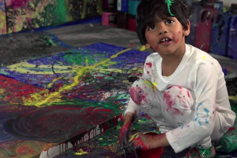 Advait Kolarkar tem apenas quatro anos e já participou da feira Art Expo de Nova York