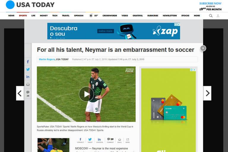 USA Today faz críticas ao comportamento de Neymar